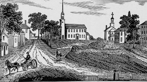 """Engraving of Market Square in Ipswich from John Warner Barber's Historical collections: being a general collection of interesting facts, traditions, biographical sketches, anecdotes, etc. relating to the history and antiquities of every town in Massachusetts,"""" published in 1839"""