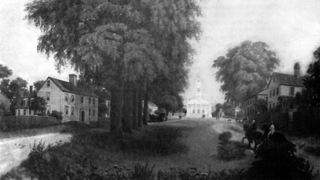 Drawing of the South Green in Ipswich during the 19th Century