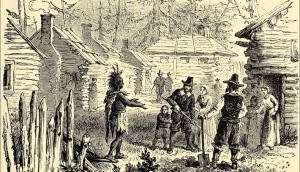 The visit of Samoset to the Plymouth pilgrims