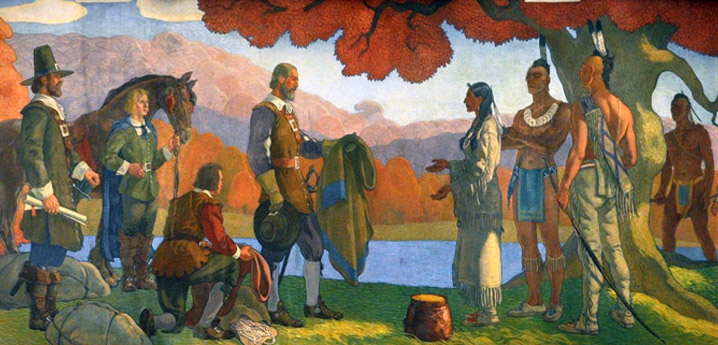 This mural at the Winchester Public Library depicts the sale of the land on which Winchester stands to the colonists by the Squaw Sachem. It was painted by Aiden Lasalle Ripley (1896–1969) in 1934.