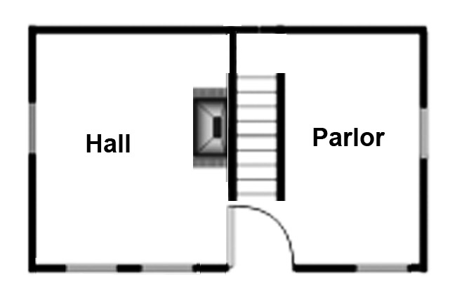 Typical Hall and Parlor first period house layout