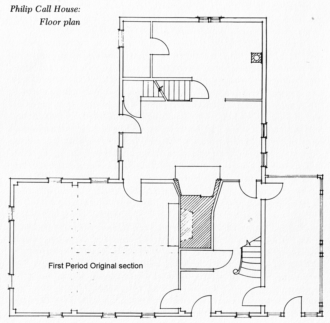 First floor layout of the Phillip Call house, Ipswich MA