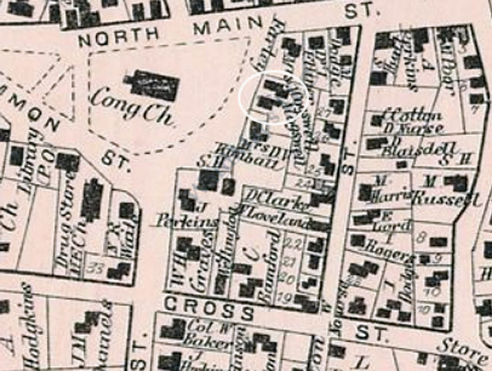 The 1872 Ipswich map shows both of the Cogswell houses side by side on Meeting House Green.