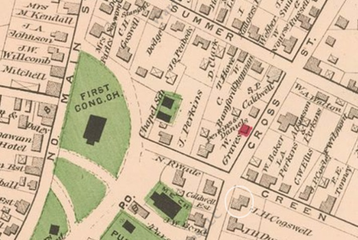 The J. H. Cogswell house is shown at its present location in the 1884 map.