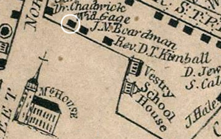 1832 map showing the home of Widow Gage beside the home of John Boardman on Meeting House Green.
