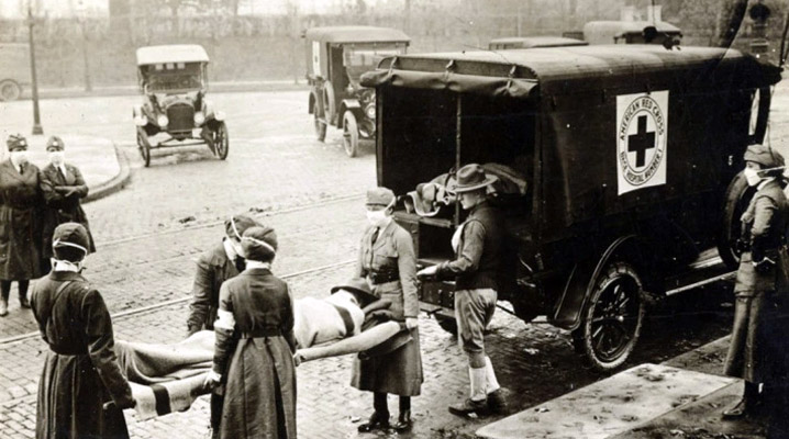 American Red Cross ambulance during the Spanish Flu outbreak of 1918