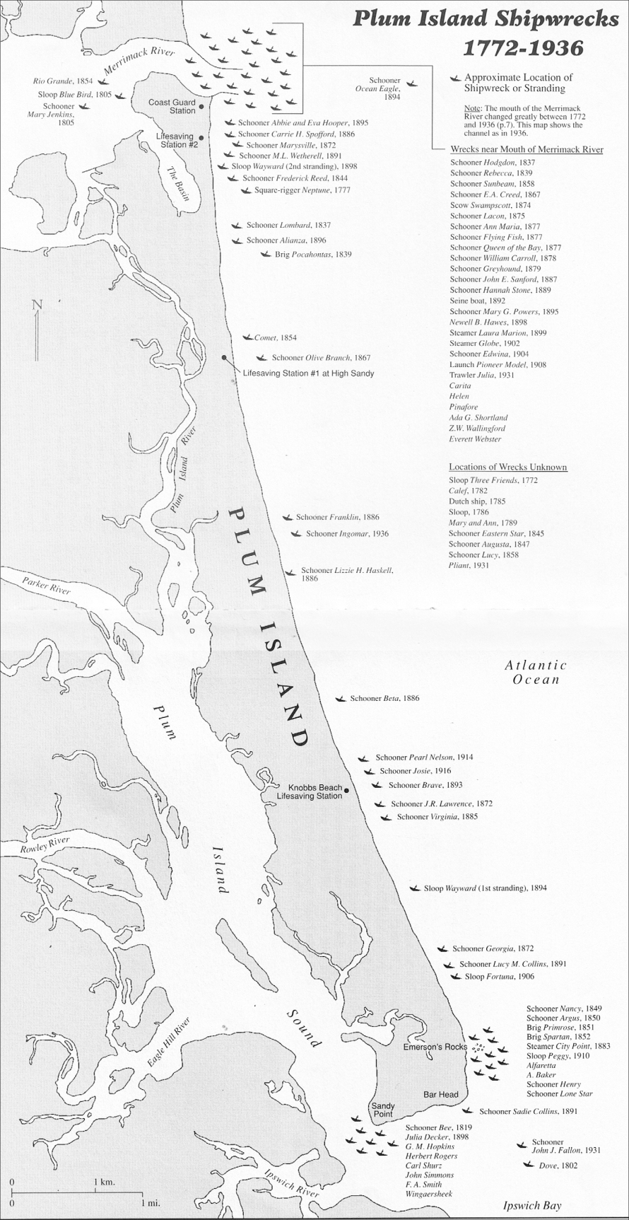 Shiprecks map of Plum Island MA