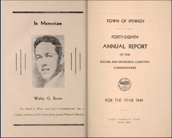 Walter G. Brown, annual report of the Ipswich Water Department