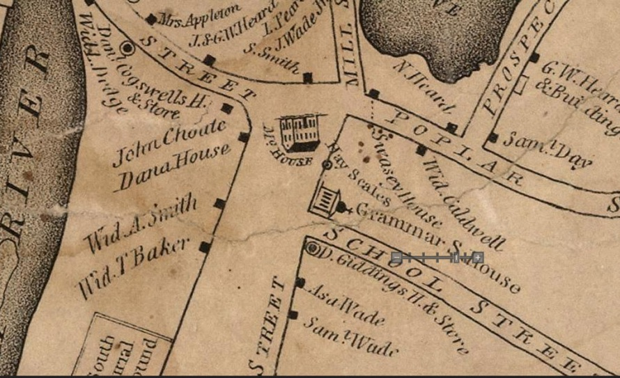 1832 map of the South Green neighborhood in Ipswich