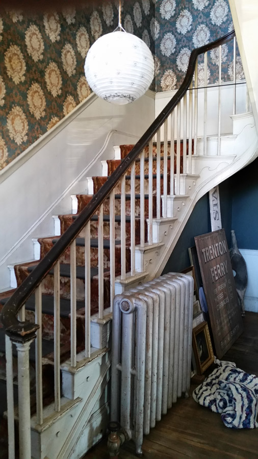 Front stairway in the entrace hall at the Thomas Manning house