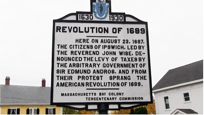 Tercentenary plaque, the Andros Rebellion Ipswich MA