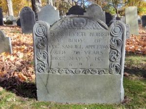 Tombstone of Col. Samuel Appleton, 1696