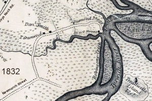 Diamond Stage and Treadwells Island in the 1832 Ipswich map