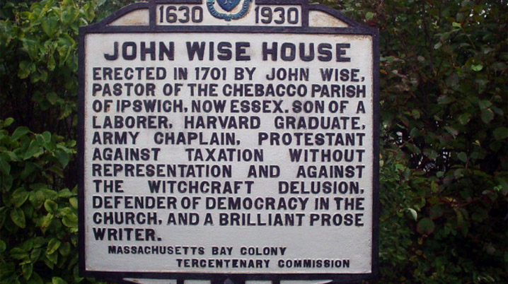 John Wise house Tercentenary sign, Essex MA