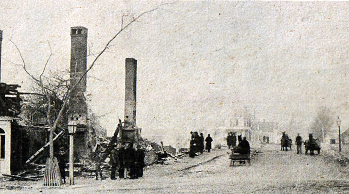 Central Street in Ipswich MA burned in 1894