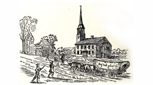Wagon train leaving from Rev. Cutler's church in Ipswich, bound for Marietta