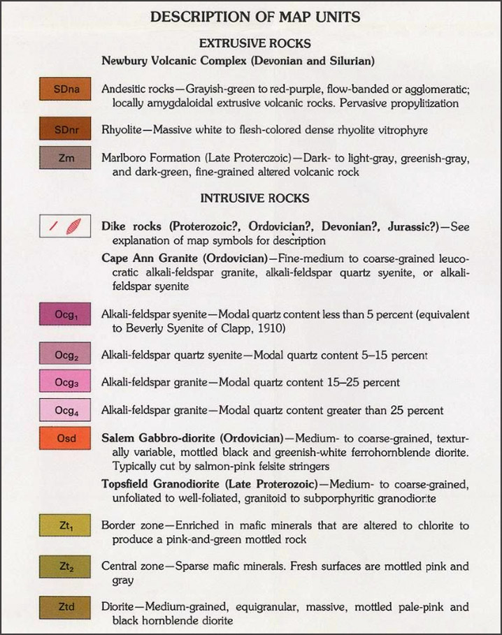 Color-coded explanation chart for the Ipswich bedrock map