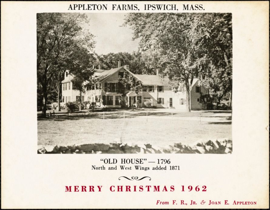 "Merry Christmas, 1962 from Frederick and Joan Appleton at the Appleton Farms ""Old House."""