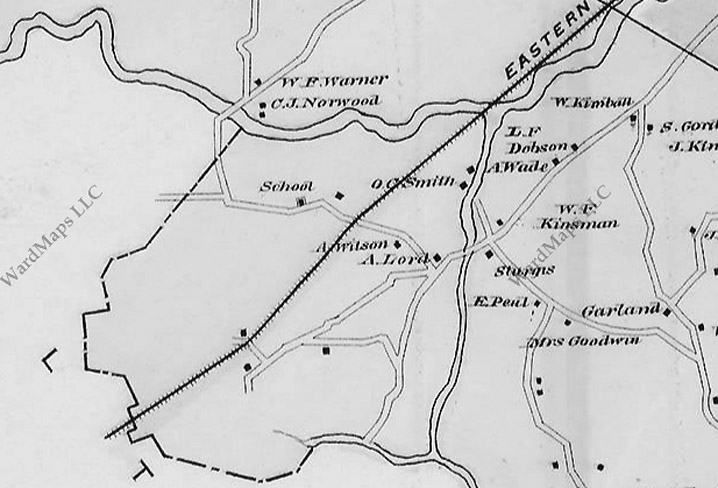 1884 ipswich map showing Waldingfield and County Roads