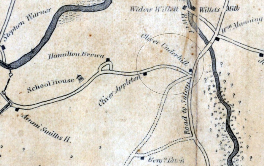1834 Ipswich map, closeup of Waldingfield and County Rds.