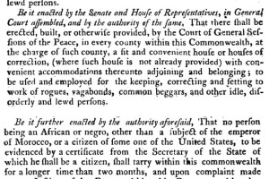 Massachusetts 1788 law banning the residence of negroes and mulattoes