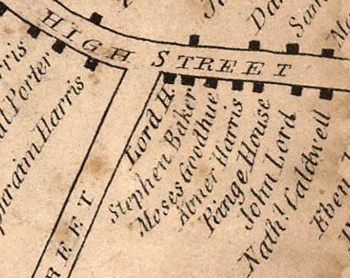 1832 map of the intersection of Mineral and High Streets in Ipswich