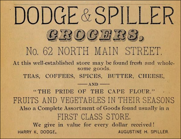 Advertisement for Dodge and Spiller Grocery, Ipswich MA