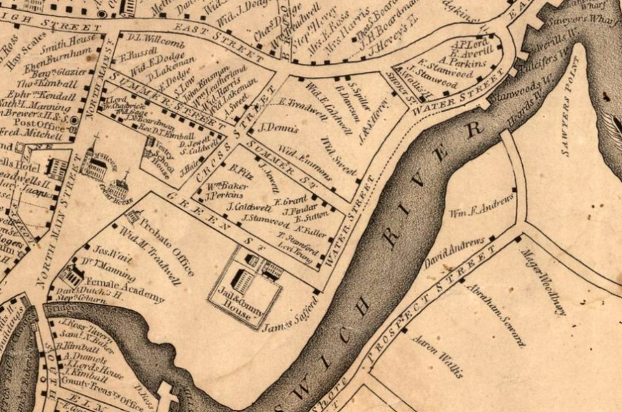 1832 map of Ipswich, Turkey Shore and Labor in Vain.