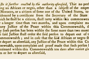 "1788 Massachusetts Act banning ""any African or Negro"""