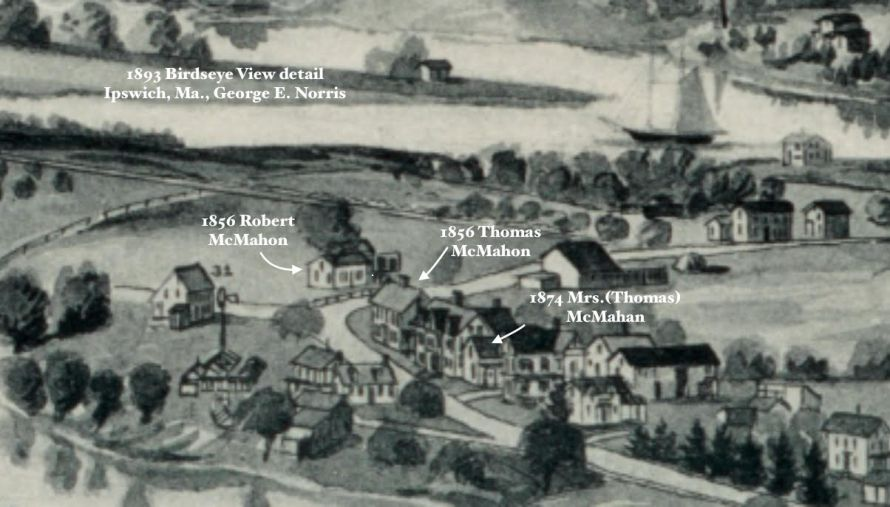 McMahon houses in thee 1894 Ipswich Birdseye Map
