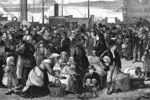 1874 engraving in The Illustrated London New showing Irish emigrants preparing to leave for the United States.