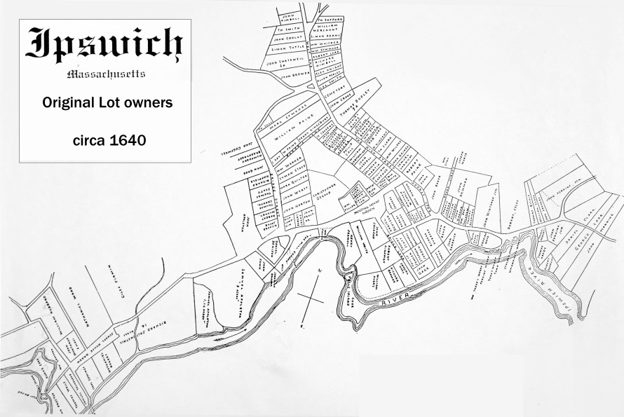 Ipswich MA 1640 land grants map