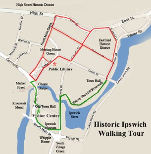 Map of walking tour of Ipswich MA