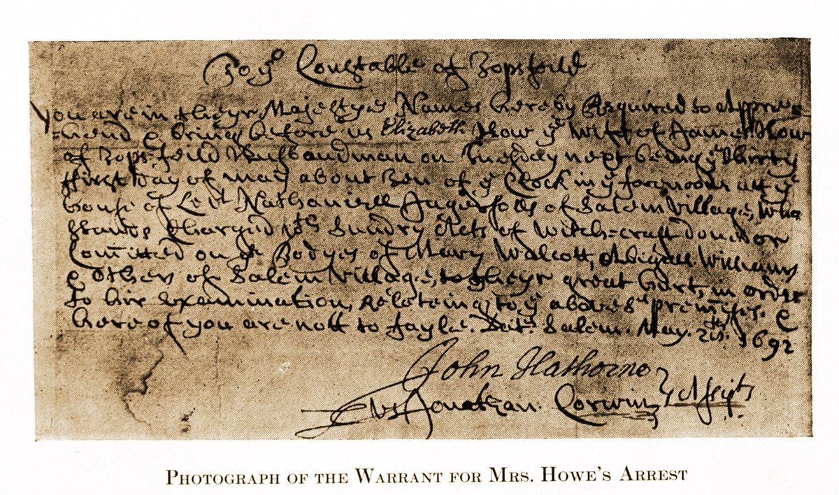 Warrant for the arrest of Elizabeth How of Ipswich for witchcraft