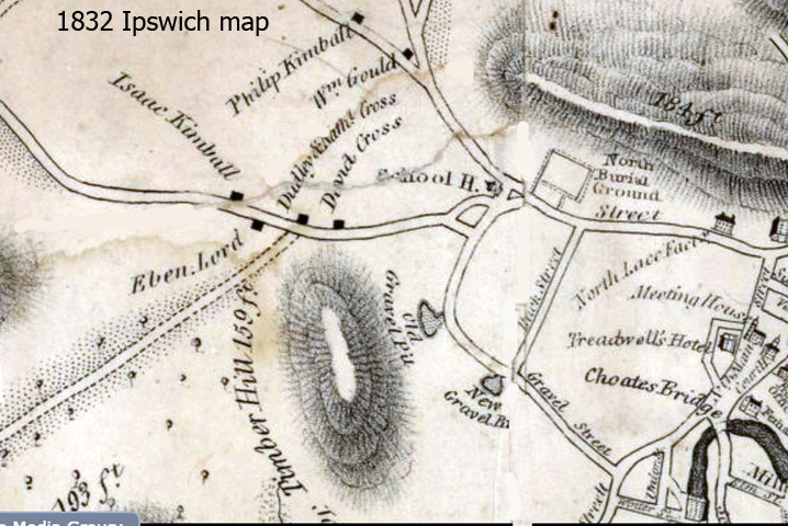 1832 map of Ipswich MA, showing Ebenezer Lord's farm