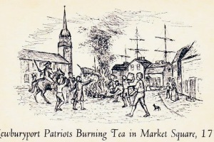 Newburyport Tea Party: Patriots burning tea in Market Square