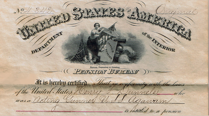 Pension certificate for Henry F. Dunnels in Ipswich, from the Civil War