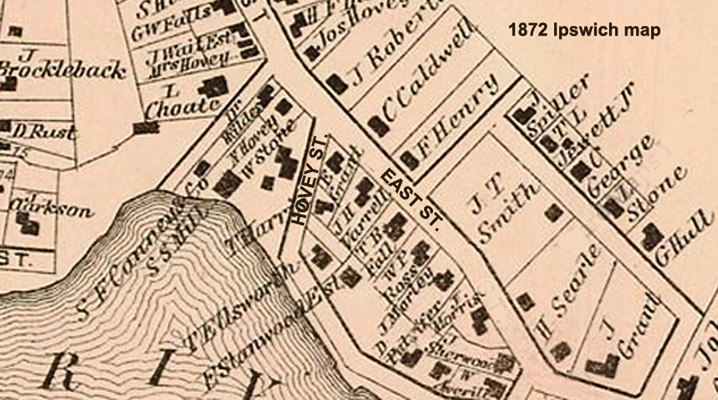 "1872 map of East Street in Ipswich, known as ""Knowlton's Close"""