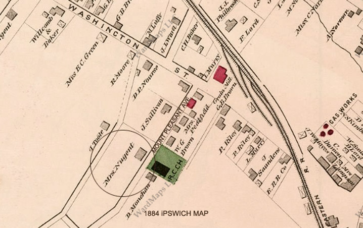 1884 map of Mount Pleasant Avenue in Ipswich