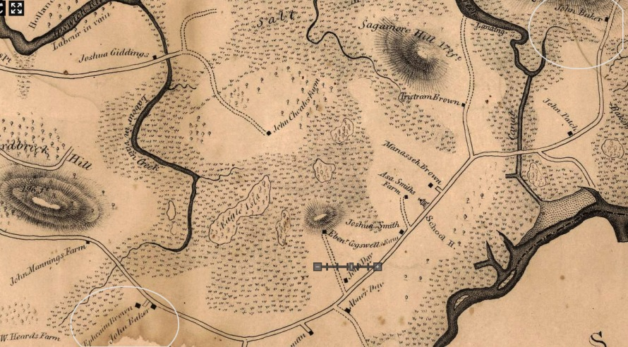 1832 map of Argilla Rd. in Ipswich
