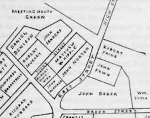 Original Ipswich lots at the corner of N. Main and East Streets.