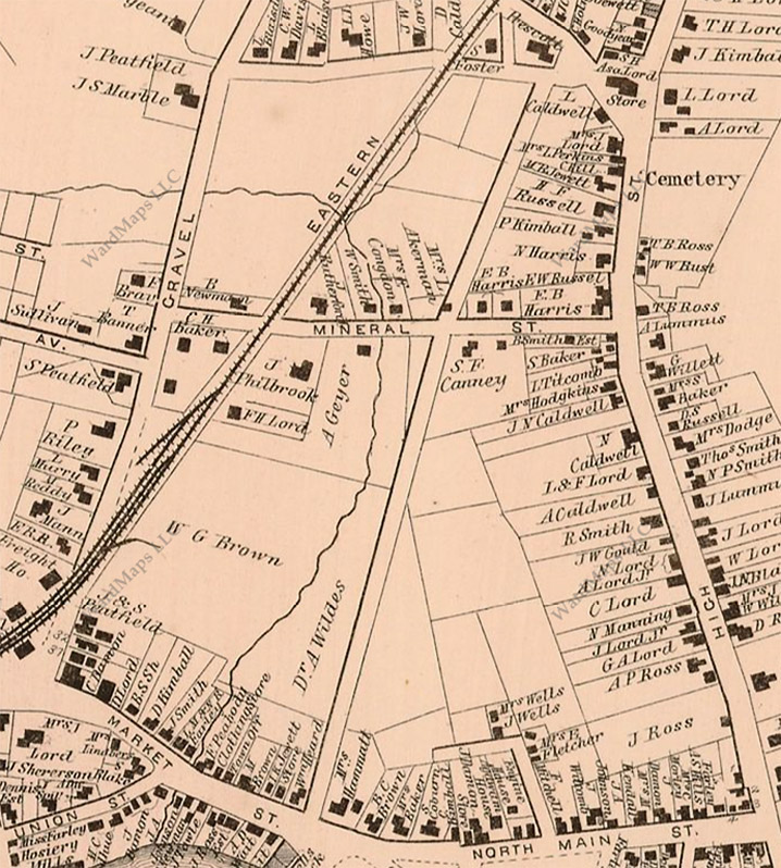 The 1872 map of Ipswich shows Central Street still unnamed and unpopulated.