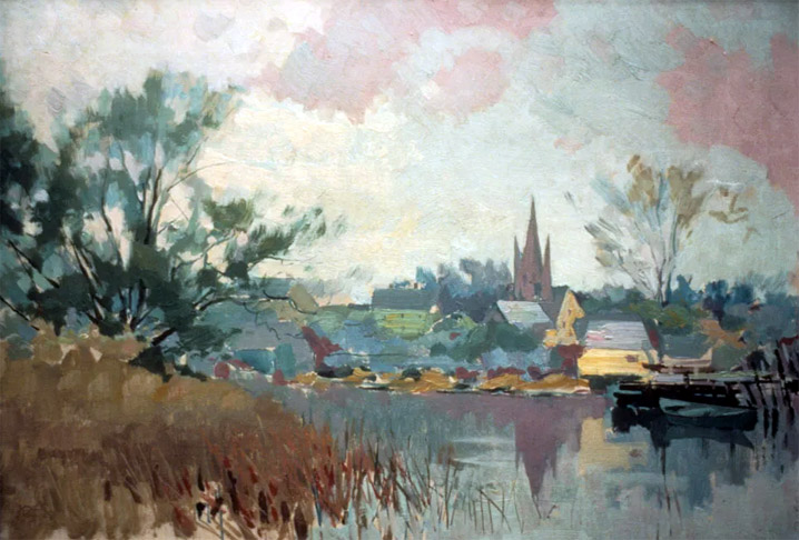 First Church Steeple across the Ipswich River by Henry Rodman Kenyon