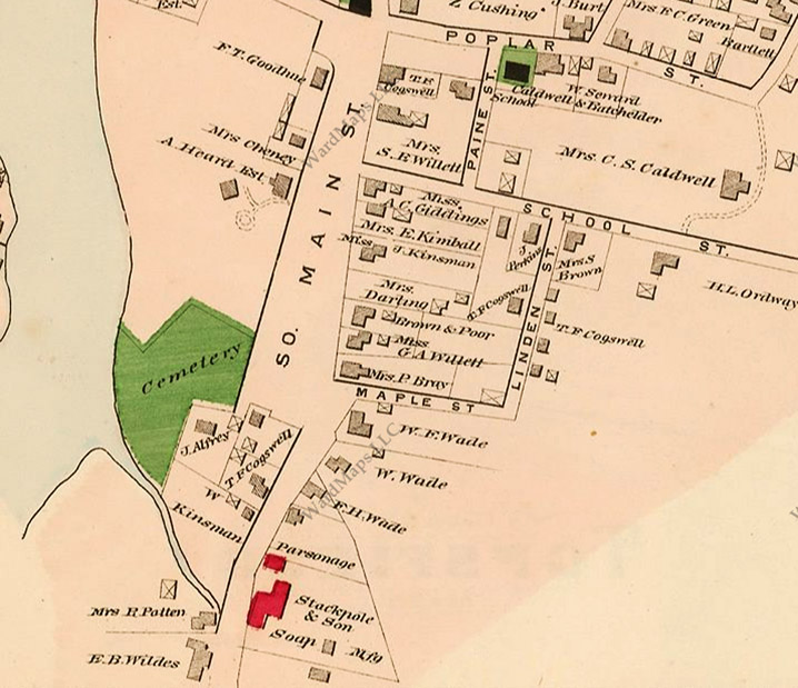 The 1884 map of Ipswich shows Stackpole & Son Soap Manufacturing at the location of today's Giles Firmin Park.