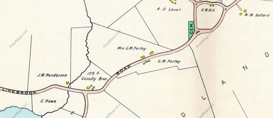 1910 Ipswich map of Linebrook Rd.
