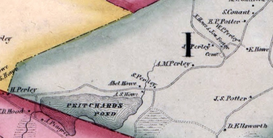 1856 Ipswich map with residences of the Perley family