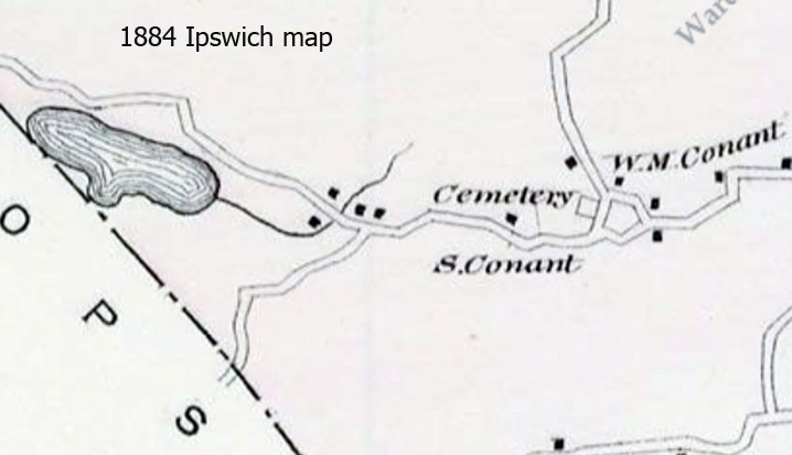 """""""S. Conant"""" is shown as the owner or mortgage holder in the 1884 Ipswich map. The house was owned at that time by Joseph Burpee Perley."""