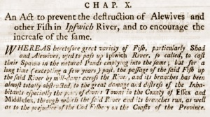 Massachusetts Act to protect Alewife on the Ipswich River in 1773