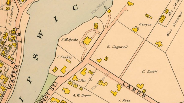 1910 Ipswich map showing the intersection of Prospect St. (Turkey Shore) and Labor in Vain Road
