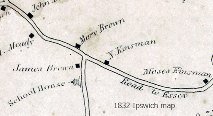 1832 Ipswich map shows the James Brown house and the Candlewood school.
